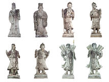 Collection of ancient chinese stone doll isolated on White Royalty Free Stock Photo