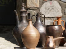 Collection of ancient clay dishes Royalty Free Stock Photos
