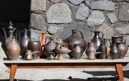 Collection of ancient clay dishes Royalty Free Stock Image
