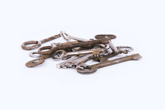 Collection of ancient keys isolated on white background Stock Photo