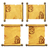 Collection of ancient parchments Royalty Free Stock Image