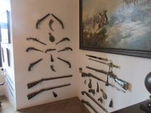 Collection of ancient weapons in the castle Stenberg, Czech Republic. Above picture on the military theme royalty free stock photos