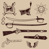 A collection of ancient weapons, hussar caps and medals Royalty Free Stock Image