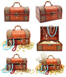Collection of ancient wooden trunks with money Stock Photo