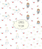 Collection of angel patterns. Set of four hand drawn cute seamless vector patterns with angel girl, winged cat, unicorn, hearts, clouds, on a white background Royalty Free Stock Photo