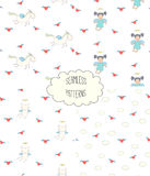 Collection of angel patterns. Set of four hand drawn cute seamless vector patterns with angel girl, winged cat, unicorn, hearts, clouds, on a white background Royalty Free Stock Images