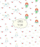 Collection of angel patterns. Set of four hand drawn cute seamless vector patterns with angel girl, winged cat, unicorn, hearts, clouds, on a white background Stock Image