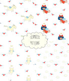 Collection of angel patterns. Set of four hand drawn cute seamless vector patterns with angel girl, winged cat, unicorn, hearts, clouds, on a white background Stock Photography