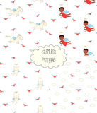 Collection of angel patterns. Set of four hand drawn cute seamless vector patterns with angel girl, winged cat, unicorn, hearts, clouds, on a white background Royalty Free Stock Image