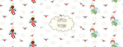 Collection of angel patterns. Set of hand drawn cute seamless vector patterns with little angel girl, winged cat, unicorn, hearts, clouds, on a white background Stock Image