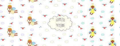 Collection of angel patterns. Set of hand drawn cute seamless vector patterns with little angel girls, one holding a cat, hearts, clouds, on a white background Royalty Free Stock Image