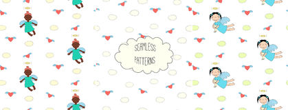 Collection of angel patterns. Set of hand drawn cute seamless vector patterns with little angel girls, one holding a cat, hearts, clouds, on a white background Stock Photography