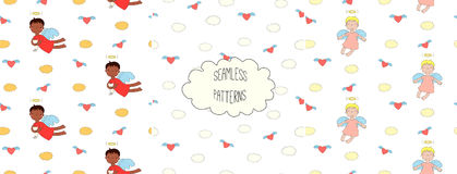 Collection of angel patterns. Set of hand drawn cute seamless vector patterns with little angel girls, one holding a cat, hearts, clouds, on a white background Royalty Free Stock Photo