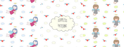 Collection of angel patterns. Set of hand drawn cute seamless vector patterns with little angel girls, one holding a cat, hearts, clouds, on a white background Stock Images