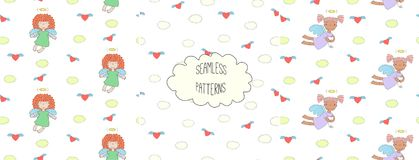 Collection of angel patterns royalty free illustration