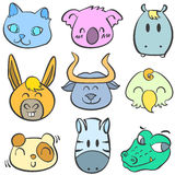 Collection of animal colorful doodles Royalty Free Stock Images