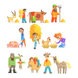 Collection Of Animal Farm Illustrations Royalty Free Stock Photo