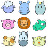 Collection animal head colorful doodles Royalty Free Stock Photos