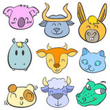 Collection animal head cute doodle style Royalty Free Stock Images