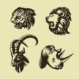 Collection of animal heads. Lion, tiger, rhino and goat. Tattoo and logo design. Vector Stock Photos