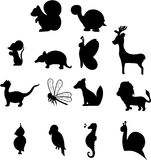 Collection of animal silhouettes Royalty Free Stock Photos