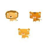 Collection animale comprenant le lion, le tigre et le puma Image libre de droits
