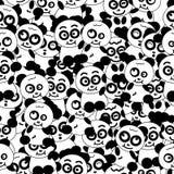 Collection animale de personnage de dessin animé de panda, illustration sans couture noire et blanche de vecteur de fond de modèl illustration libre de droits
