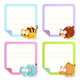 Collection animale mignonne de papiers de note Photo stock