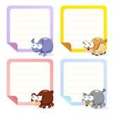 Collection animale mignonne de papiers de note Image stock