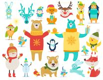 Collection of Animals, Snowmen Vector Illustration stock illustration