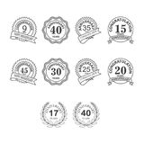 Thin line anniversary icon set. Collection of anniversary icon vector Stock Photos