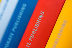 Collection of Annual reports. Colorful collection of annual reports in a row Stock Photography