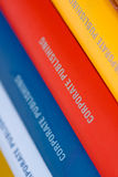 Collection of Annual reports. Colorful collection of annual reports in a row Royalty Free Stock Photos