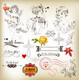 Collection of antique calligraphic elements for valentine design Stock Photography
