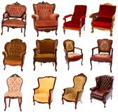 Collection of 12 antique chairs. Collection of 12 different antique-style chairs isolated on white background Royalty Free Stock Images
