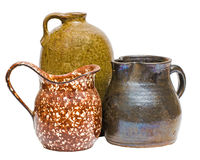 Collection of antique clay containers Stock Images