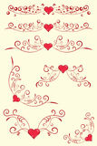 Collection of antique design elements with heart. Royalty Free Stock Photography