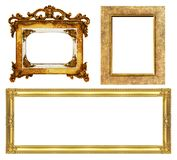 Collection  antique golden frame isolated on white background, clipping path. Collection antique golden frame isolated on white background, clipping path stock images