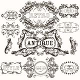 Collection of antique hand drawn frames in baroque style. Set of vector hand drawn frames in vintage style Stock Image