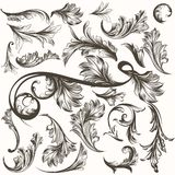 Collection of antique hand drawn ornaments for design Stock Photo