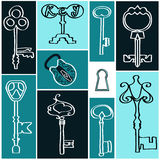 Collection antique keys. Vector illustration on a colored background Stock Photography