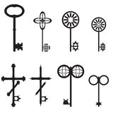 Collection of antique and modern keys,  illustration Royalty Free Stock Images