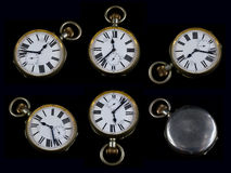 Collection of Antique Pocket Watch on Black Background. A Collection of Antique Pocket Watch on Black Background Royalty Free Stock Photography