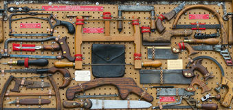 Collection of Antique Saws at Country Fair Royalty Free Stock Photography