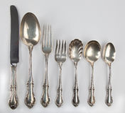 Collection of antique silverware. Royalty Free Stock Image