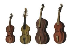 A collection of antique violin, viola, cello and more from Encyclopedia Londinensis. Or Universal Dictionary of Arts, Sciences and Literature 1810. Digitally stock photo