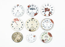 Collection of antique watch faces. Isolated on white Royalty Free Stock Photography