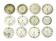 Collection of antique watch faces. Isolated on white Royalty Free Stock Photo