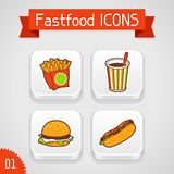 Collection of apps icons with fast food. Illustration. Set 1 Stock Images