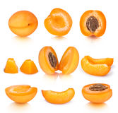Collection of apricot pieces with reflection Stock Photo